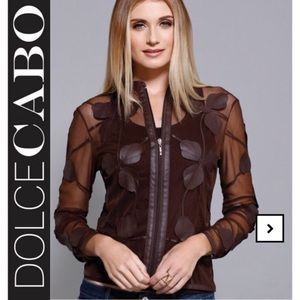Dolce Cabo Floral Faux Leather Mesh Jacket